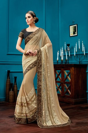 Enthralling Beige Knitted Net Fancy Net,  Sequins Work  Saree