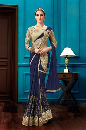 Ethnic Navy Blue Net Bead Work, Thread and Zari embroidery, Hand Work One Minute Saree
