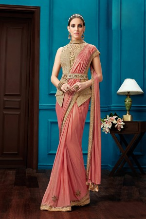 Distinctive Peach Knitted Georgette Zari and Cord Embroidery,  One Minute Saree