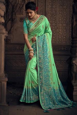 Radium green Silk Saree with Blouse