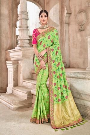 Green silk Saree with Blouse