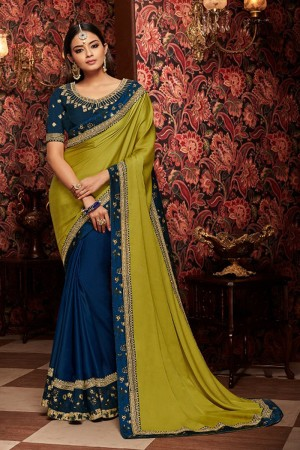Mahendi and navy blue satin Georgette Saree with Blouse