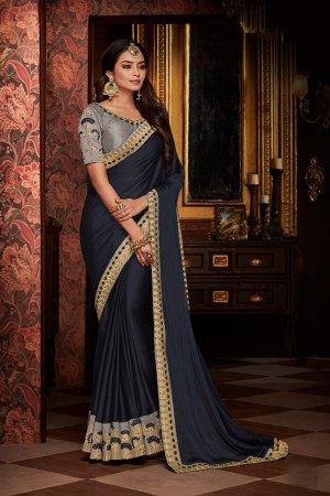 Dark Grey satin Georgette Saree with Blouse