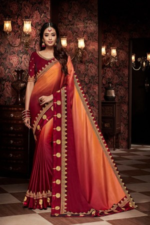 Orange and maroon satin Georgette Saree with Blouse