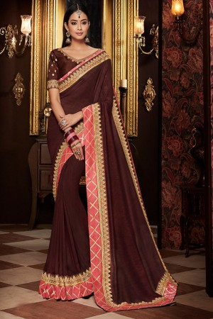 Brown chinon satin Saree with Blouse