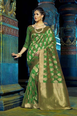 Graceful Green Dyed Polyester Weaving Saree