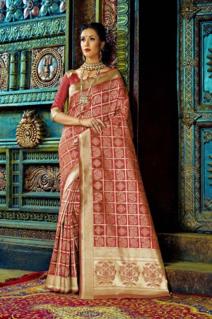 Luscious Red Dyed Polyester Weaving Saree