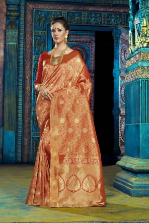 Distinctive Orange Dyed Polyester Weaving Saree