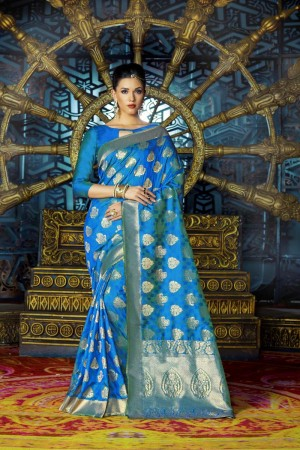 Engrossing Blue Dyed Polyester Weaving Saree