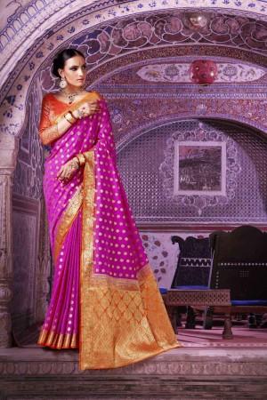 Beautiful Rani Pink Nylon Silk Hand Dyeing Saree