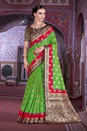 Bedazzling Green Nylon Silk Hand Dyeing Saree