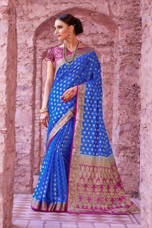 Gorgeous Blue Nylon Silk Hand Dyeing Saree