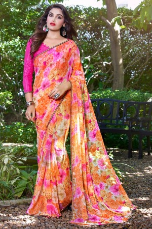 orange and Pink Green Georgette Beautiful Printed Saree