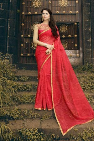 Enticing Red Rajjo Net Print with Lace Border Saree