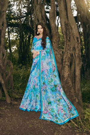 Ethereal Sky_blue Rajjo Net Print with Lace Border Saree