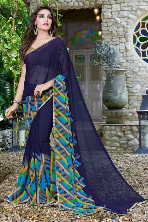 Bewitching NavyBlue Georgette Beautiful Printed Saree