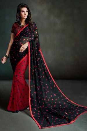 Beauteous Black Georgette Printed With Lace Border Saree