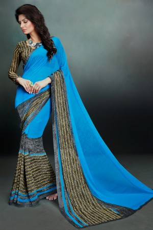 Adorable Blue Georgette Printed With Lace Border Saree