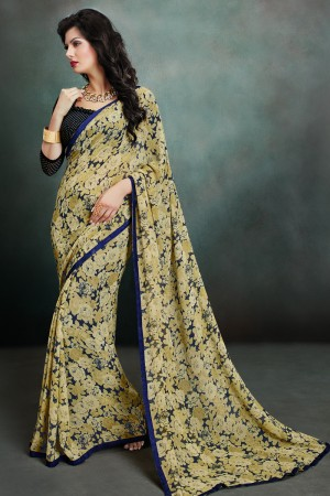 Dashing Beige Georgette Printed With Lace Border Saree