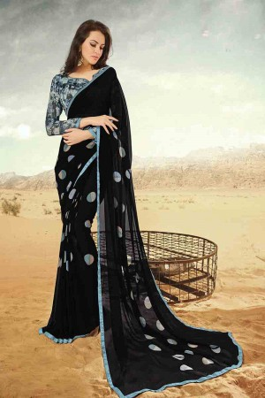 Breezy Black Georgette Printed With Lace Border Saree