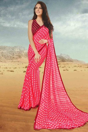 Trendy Light_pink Georgette Printed With Lace Border Saree