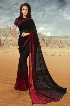 Versatile Black Georgette Printed With Lace Border Saree