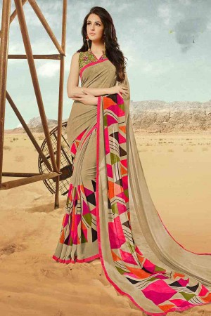 Delightful Beige Georgette Printed With Lace Border Saree