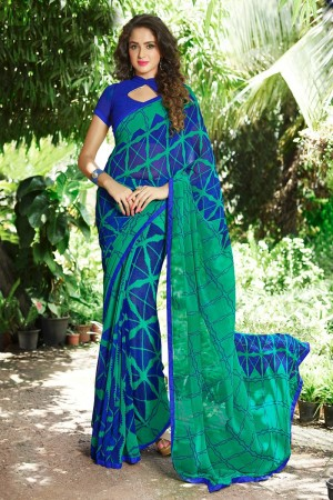 Ravishing Multicolor Georgette Print with Lace Border Saree