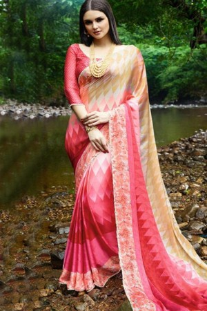 Eye catching Peach Satin Printed With Lace Border Saree