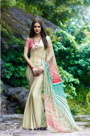 Outstanding Off_white Satin Printed With Lace Border Saree