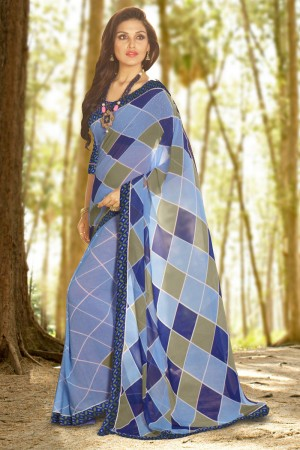 Striking Blue Georgette Printed With Lace Border Saree
