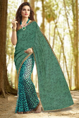 Enchanting Green Georgette Printed With Lace Border Saree