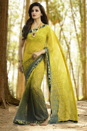Ethereal Mehendi Georgette Printed With Lace Border Saree