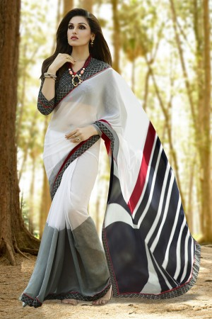 Auspicious White Georgette Printed With Lace Border Saree