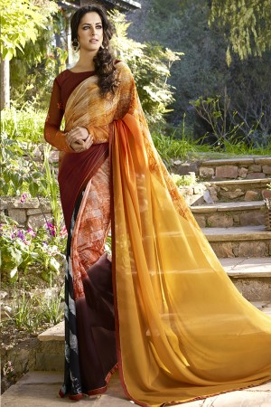 Bedazzling Multicolor Georgette Embroidery Blouse with Hand Printed Saree