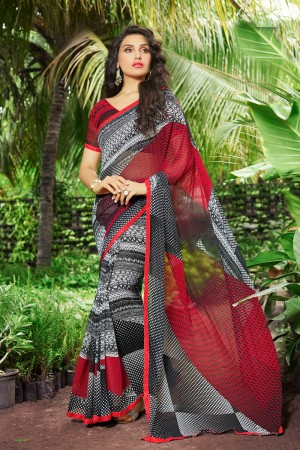 Divine Black Georgette Print with Lace Border Saree