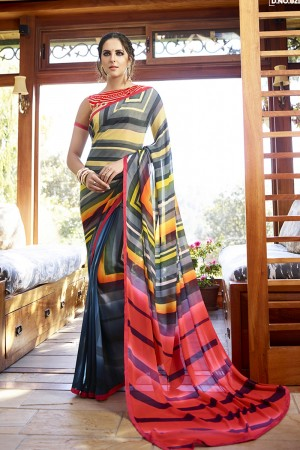 Gorgeous Multicolor Georgette Embroidery Blouse with Hand Printed Saree
