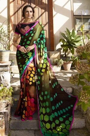 Splendiferous Multicolor Georgette Embroidery Blouse with Hand Printed Saree