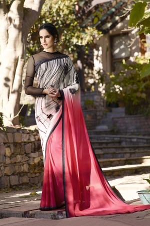 Voguish Pink Georgette Embroidery Blouse with Hand Printed Saree