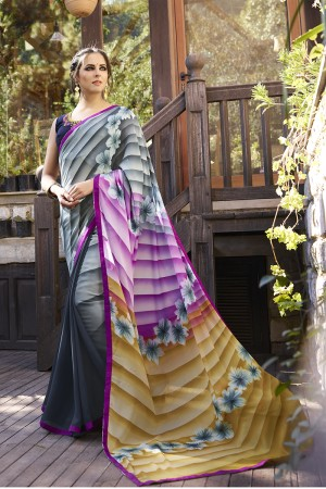 Attractive Grey Georgette Embroidery Blouse with Hand Printed Saree