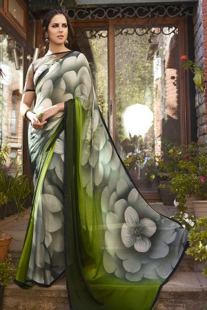 Fabulous Green Georgette Embroidery Blouse with Hand Printed Saree