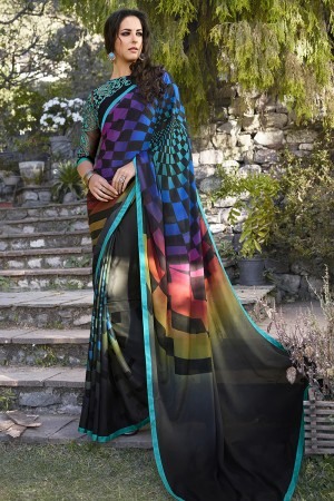 Enthralling Black Georgette Embroidery Blouse with Hand Printed Saree