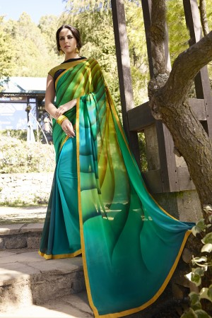 Stunning Green Georgette Embroidery Blouse with Hand Printed Saree