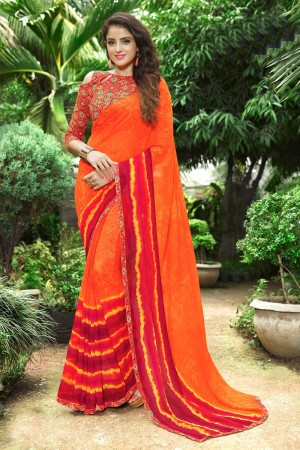 Classic Orange Georgette Print with Lace Border Saree