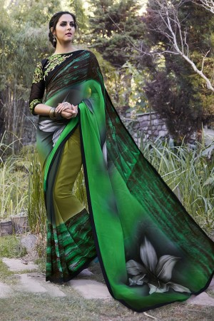 Angellic Green Georgette Embroidery Blouse with Hand Printed Saree