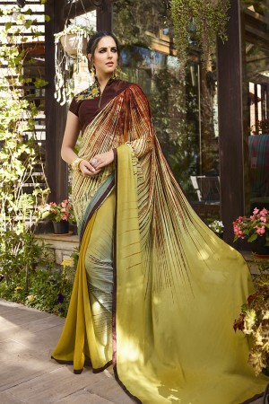 Distinctive Mehendi Georgette Embroidery Blouse with Hand Printed Saree