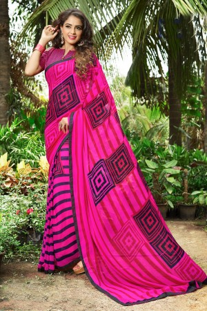 Classy Pink Georgette Print with Lace Border Saree
