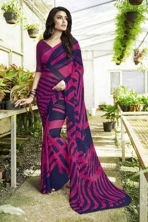 Distinctive Pink & Blue Georgette Printed Saree