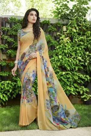 Engrossing Cream Georgette Printed Saree