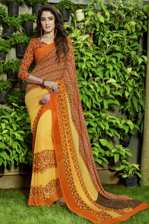 Ambitious Yellow Georgette Printed Saree